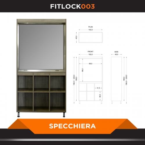 Armadio a 3 ante con specchiera - FITART- Wellness Outlet